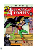 Justice League: Color Cover for All-American Comics, the Geen Lantern Rescues a Dame in Distress Print