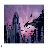 Batman: Gotham City from Inside, Gargoil in the Right Corner and Bats Flying Above Prints
