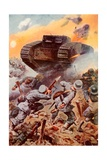 Tanks in Action Giclee Print by Stanley L. Wood
