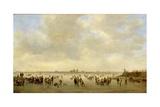 Winter Landscape with Skaters before S'Hertogenbosch, 1646 Giclée-tryk af Jan Josephsz. Van Goyen