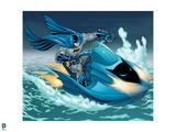 Batman: Batman Riding on a Batman Jetski in the Water with Cape Flowing Behind Him Prints