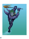 Batman: The Joker Running Leaning Forward with Both Hands Above His Head with a Cane in His Hands Print