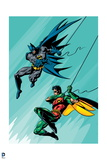 Batman: Batman and Robin Both Swinging Downwards on Ropes with Legs Bent Beneth Them Print