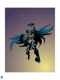 Batman: Batman Swinging on Rope with One Leg Bent and Cape Flowing Behind Him Looking Down Print