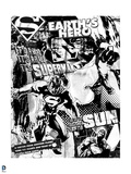 "Superman: Superman: ""Earth's Hero"" Wallpaper (Black and White) Posters"