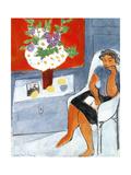 Woman Seated Near a Chest with Flowers, 1939 Giclée-trykk av Henri Matisse