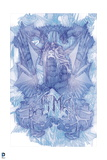 Batman: Dark Blue and Light Blue Sketch of Batman with Hallways Behind Him Poster