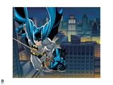 Batman: Batman Swinging on a Roap over the City at Night with His Cape Flowing Behind Him Prints
