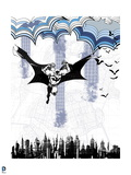 Batman: Batman Leaping in the Air with Bats Next to Him and the City Below Him Prints