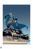 Batman: Batman Grabbing onto the Ledge of a Building as He Hangs Below It Poster