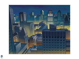 Batman: View at Night Looking Out over Gotham City and All its Towers Prints