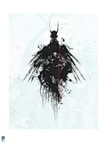 Batman: Black Lined Outline of Batman with Wings and White Background Prints