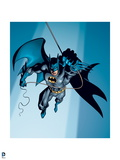 Batman: Batman Swinging on Rope with One Hand Cape Flowing Behind with Spotlight on Him Posters