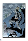 Batman: Side View of Batman Standing on Gargoyle with City and Bat Signal in Background Prints