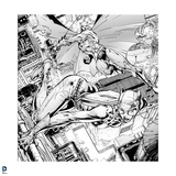 Batman: Black and White Drawing of Catwoman Grabbling the Ledge of a Building Print