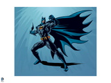 Batman: Batman Posing Chest Puffed Holding a Batterang Ready to Throw with Cape Flowing to the Side Poster