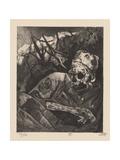 Corpse in Barbed Wire, Flanders, Illustration from the Portfolio 'Der Krieg', 1924 Giclée-Druck von Otto Dix