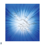 Batman: Blue and White Background with Light Outline of Bats Flying Art