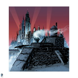 Batman: View from Rooftop of Side of Gotham City with Spotlights Shining and Red Background Art