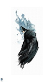 Batman: Batman Side View with Cape Covering Him and Smokey Grey Behind Him Posters