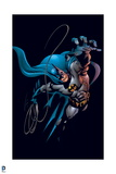 Batman: Batman Jumping Upward with His Hand Streached Out and Rope in the Other Hand Prints
