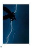 Batman: Cover Art Action Shot with Silouette of Batman Jumping and a Bolt of Lightning Behind Him Posters