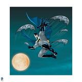 Batman: Batman Jumping in Midair Throwing Out Multiple Battarangs with Full Moon Behind Him Prints
