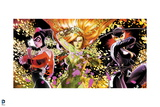 Batman: Batman Villains Catwoman Harley Quinn and Poison Ivy Cover Art with Petals Flying Around Posters
