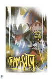 Batman: Multi Colored Bat Symbols with the City in the Backgound and Writing in Yellow Poster
