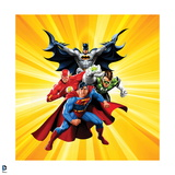 Justice League: Superman with Flash, Green Lantern, Batman with Yellow Background Art