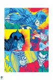 Batman: Multicolored Comic Book Panels of Batman Fighting The Joker Posters