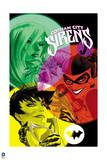 Batman: Images of Poison Ivy Catwoman and Harly Quins Faces in Bubbles with Writing Above Them Print