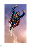 Superman: Superman Flying with Cloud Background Poster