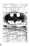 Batman: Batman Symbol in a Circle with Black Lines Going Randomly Through the Background Art
