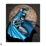 Batman: Batman Crouching with One Arm Against Wall and the Other in Front with a Spotlight on Him Posters