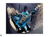 Batman: Batmobile Parked on the Side of a Building Hidden While Batman Uses Rope to Swing Away Poster