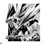Batman: Black and White Image of Batman Jumping with Cape Flowing Behind Him and Robin Watching Prints