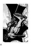 Batman: Black and White Image of Batman Swinging Along the Side of a Building Prints
