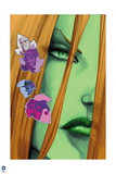 Batman: Close Up of Poison Ivys Face with Leaves with Pictues of People on Them Posters