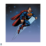 Superman: Superman Flying with Stars in Background Art