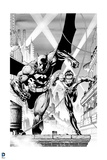 Batman: Black and White Image of Batman and Robin Running Along Top of Roof Posters