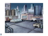 Batman: Rooftop with Sunroof Looking Out onto Towers of Gotham City Print