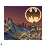 Batman: View of Gargoil and Looking over Gotham City with Large Bat Signal Overhead Art