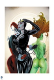 Batman: Harly Quin Hugging Catwoman in Front with Poison Ivy Turned around Behind Them Posters
