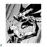 Batman: Black and White Outline of Catwomand and Batman Fighting in the Rain Posters