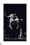 Batman: Batman Cover Art Mostly Black with City in Background and Batman Yelling Posters