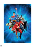 Justice League: Flash with Superman, Green Lantern, Batman with Blue Background Prints