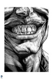 Batman: Black and White Close Up of The Jokers Teeth and Lips Smiling Prints