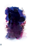 Batman: Pink and Blue with Dark Catwoman Crouching in Center with Whip Prints