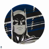 Batman: Close Up of Batmans Face Outlined in Balck with Blue Black and White Lines Behind Him Prints